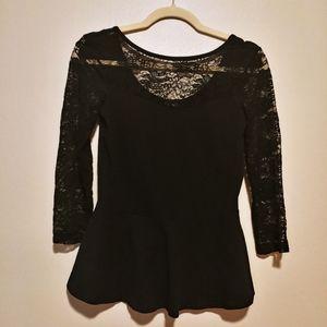 3/$25 Express black lace 3/4 sleeve peplum blouse